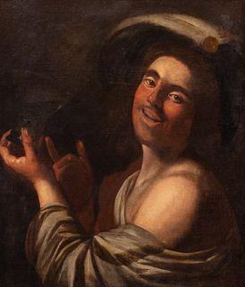 Pittore caravaggesco fiammingo, secolo XVII - The cheerful drinker