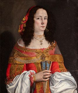 Scuola toscana, secolo XVII - Half-length portrait of a gentlewoman, with red dress and fan in her hand
