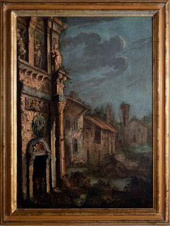 Gherardo Poli (Firenze 1674-Pisa 1739)  - Architectural capriccio with ruins and bystanders