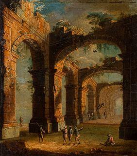 Angelo Maria Costa (Palermo 1670 circa-Napoli 1721)  - Architectural capriccio