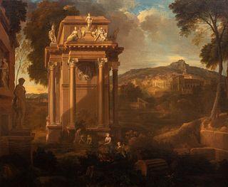 Scuola romana, inizi secolo XVIII - Arcadian landscape with classical ruins