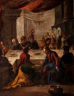 Scuola veneta, fine secolo XVI - Dinner at the Pharisee's house