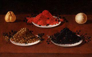 Scuola lombarda, fine secolo XVI - inizi secolo XVII - Still life with berries on a table