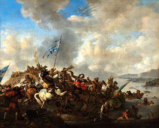 Scuola olandese, secolo XVII - Two battle scenes