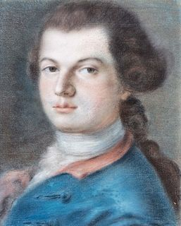 Scuola veneta, secolo XVIII - Half-length portrait of young man with blue jacket and red lapel