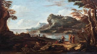 Atelier di Salvator Rosa (Napoli 1615 – Roma 1673) - River landscape with fishermen and wayfarers