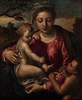 Ippolito Scarsella, detto lo Scarsellino (Ferrara 1550-1620)  - Madonna with Child and San Giovannino