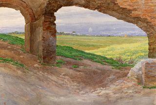 Ettore Ferrari (Roma 1845-1929)  - Pair of views of the Appian Way