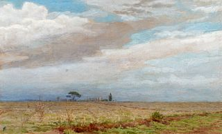 Ettore Ferrari (Roma 1845-1929)  - Pair of landscapes near Rome