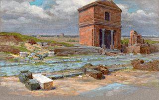 Ettore Ferrari (Roma 1845-1929)  - Pair of views near the Appian Way