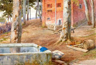 Ettore Ferrari (Roma 1845-1929)  - Pair of landscapes near north Rome