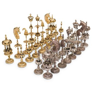 (32 Pc) Designer Silver Plated Chess Set