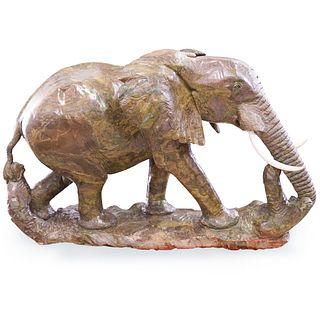 James Tandi (Zimbabwe, b 1956-) Large Carved Verdite Elephant