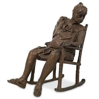 """Teena"" Signed Bronze Rocking Chair Statue"