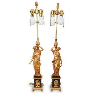 Pair Of French Imperial Bronze Lamps