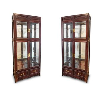 Pair Of Chinese Rosewood Display Cabinets