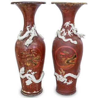 A Pair Of Large Japanese Meiji Period Porcelain Vases