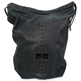 Valentino Garavani Black Suede Bucket Bag