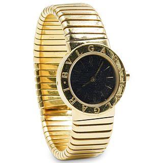 """Bvlgari """"Tubogas"""" 18K Gold Watch"""