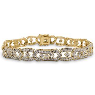 14k Gold and Diamond Filigree Bracelet