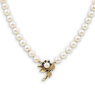 14k Gold, Sapphire and Beaded Pearl Necklace
