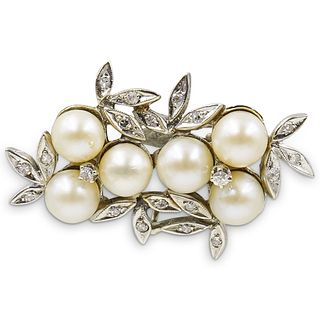 14k Gold, Diamond and Pearl Brooch