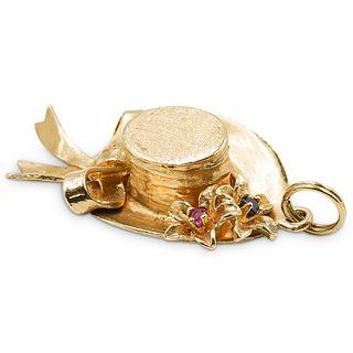 14k Gold and Precious Stone Hat Pendant