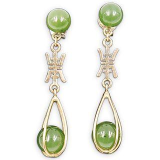 Pair Of Sterling Silver and Jade Drop Earrings