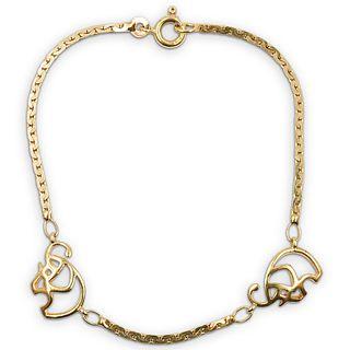 14k Gold and Elephant Charm Bracelet