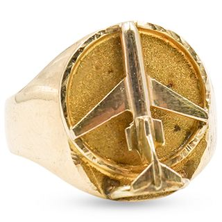14k Gold Aviator Ring
