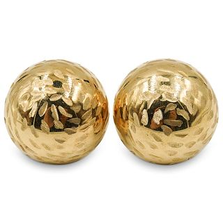18k Gold Etched Spherical Earrings