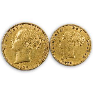 "(2 Pc) British ""Victoria De Grattia"" Victorian Gold Coins"