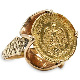 Mexican Peso Coin and 14k Gold Ring