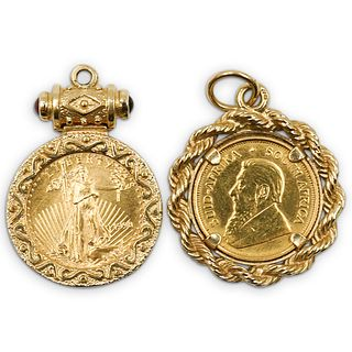 (2 Pc) Group Of Gold Coin Pendants