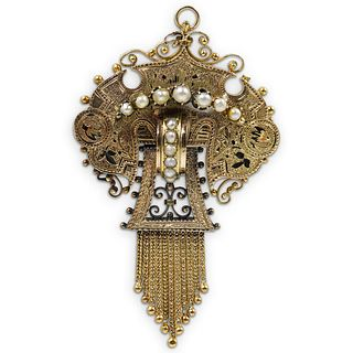 Victorian 14k Gold and Pearl Brooch
