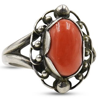 Georg Jensen Sterling and Coral Ring