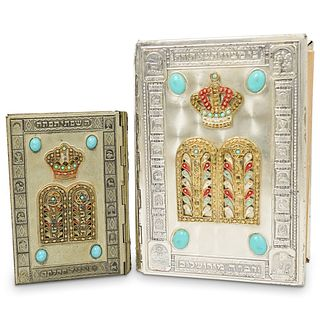 (2 Pc) Silver Plated Judaic Book Cover
