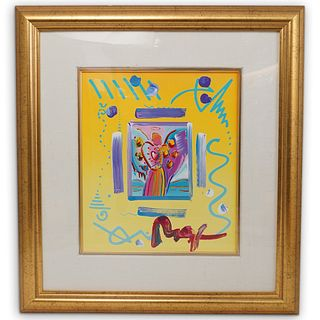 """Peter Max (American b. 1937) """"Angel With Heart"""" Mixed Media"""