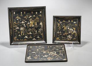 Three Chinese Painted Wood Trays