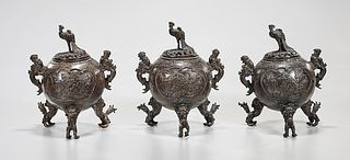 Group of Three Chinese Bronze Covered Censers