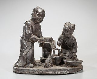 Chinese Iron Figural Sculpture Group