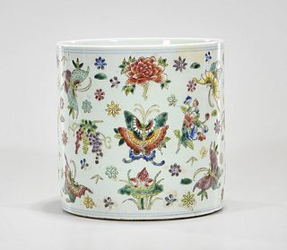 Chinese Enameled Porcelain Brush Pot