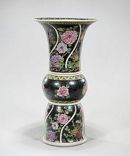 Chinese Enameled Porcelain Gu-Form Vase
