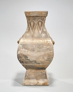 Chinese Painted Pottery Four-Faceted Vase