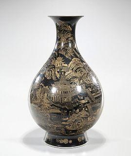 Tall Chinese Black Glazed Porcelain Vase