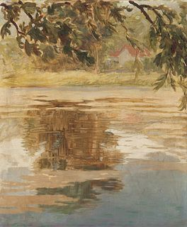 Grant Wood(American, 1891-1942)Reflections, Ville d'Avray, 1920