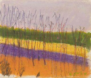 Wolf Kahn (American/German, 1927-2020) Yellow FightsPurple, 2011