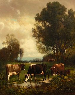William M. Hart (American, 1823-1894) Grazing Cows, 1879