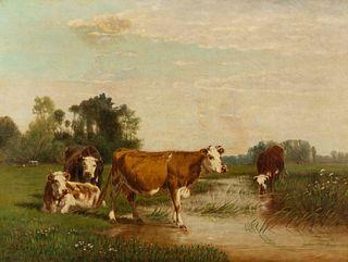 Clinton Loveridge (American, 1838-1915) Cows in a Field, 1889