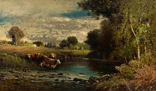 George Nelson Cass (American, 1831-1882) Landscape with Cows in a Stream, 1855